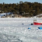 "Båt ""infrusen"" i isen"